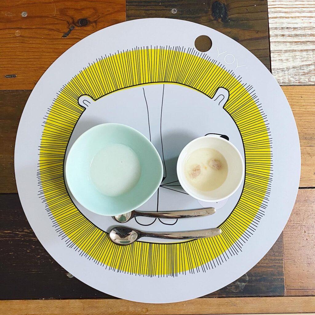 おかゆ+豚バラペーストとスープ